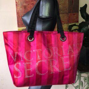 VS HUGE red pink striped jeweled shoulder tote bag